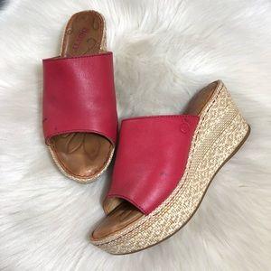Born Red Leather Platform Sandals Slides